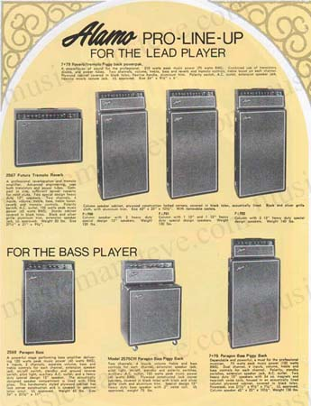 af32249b38 Offering a Download containing high quality scans (300 dpi) of the 1970s  ALAMO AMPLIFIER LINE-UP brochure on heavy stock paper which includes 1973  ...